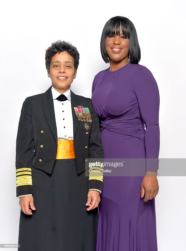 Chairman's Award Honoree United States Navy Vice Admiral Michelle Janine Howard (L) and NAACP Chairman of the National Board of Directors Roslyn M. Brock pose for a portrait during the 44th NAACP Image Awards at The Shrine Auditorium on February 1, 2013 in Los Angeles, California.