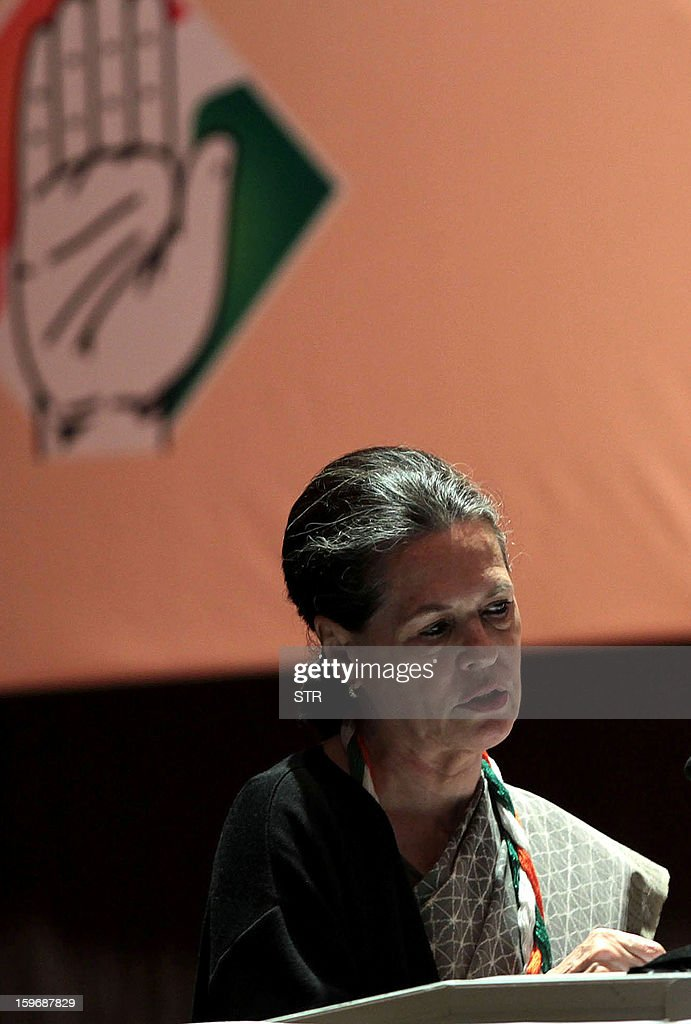 UPA Chairperson and Congress president Sonia Gandhi addresses the delegates at the opening session of the Congress party leadership conclave in Jaipur on January 18, 2013. India's ruling Congress party supremo on Friday kicked off a leadership conclave with a warning that political rivals had made 'inroads' into 'traditional support base' of the party. AFP PHOTO