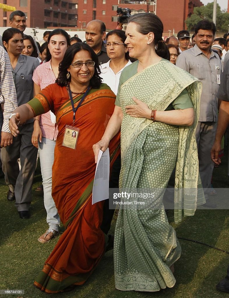 UPA Chairperson and Congress President Sonia Gandhi arrives for laying the foundation stone for a girls' hostel at Jamia Millia Islamia University on May 14, 2013 in New Delhi, India.