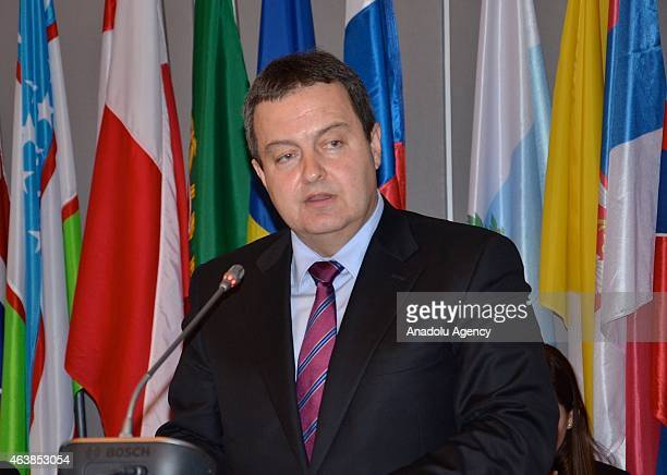 Chairperson in Office Serbian Foreign Minister Ivica Dacic delivers a speech during the Organization for Security and Cooperation in Europe...