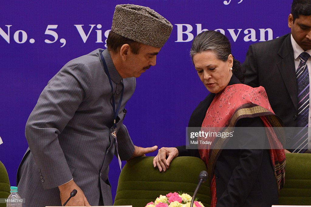 Chairperson of National Advisory Council (NAC) Sonia Gandhi with Union Health Family Welfare Minister Ghulam Nabi Azad during the inauguration of South Asian Autism Network (SAAN) Conference in New Delhi on Monday.