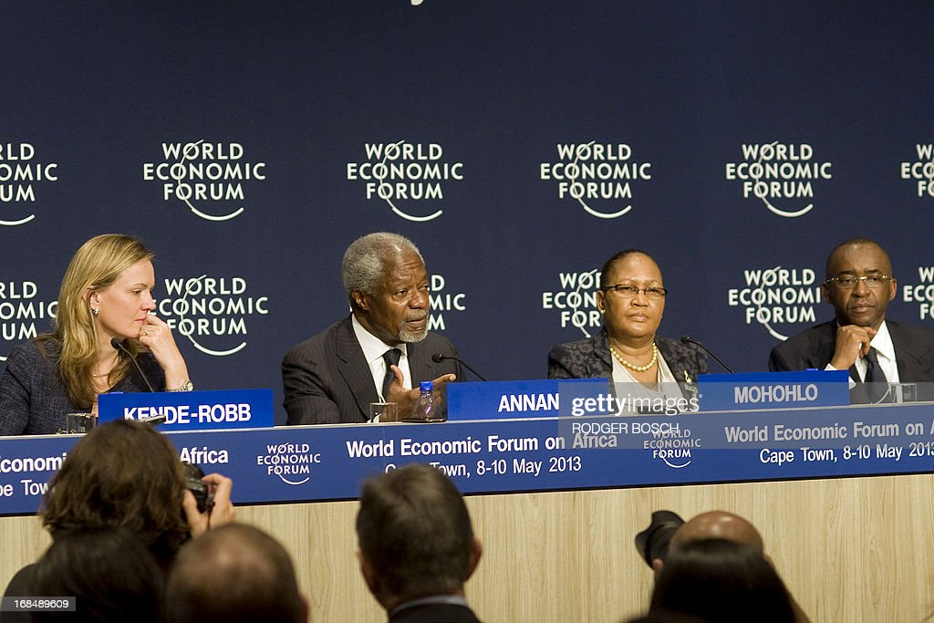 Chairperson of the Africa Progress Panel (APP) and former UN Secretary-General Kofi Annan (2nd L) speaks during a press conference where the Africa Progress Panel Report is released, while APP Executive Director Caroline Kende Robb (L), Governor of Botswana's Central Bank Linah Mohohlo (2nd R) and Chairman of Econet Wireless Strive Masiyiwa (R) listen, during the third and final day of the World Economic Forum Meeting on Africa, at the Cape Town International Convention Centre on May 10, 2013, in Cape Town. AFP PHOTO / RODGER BOSCH