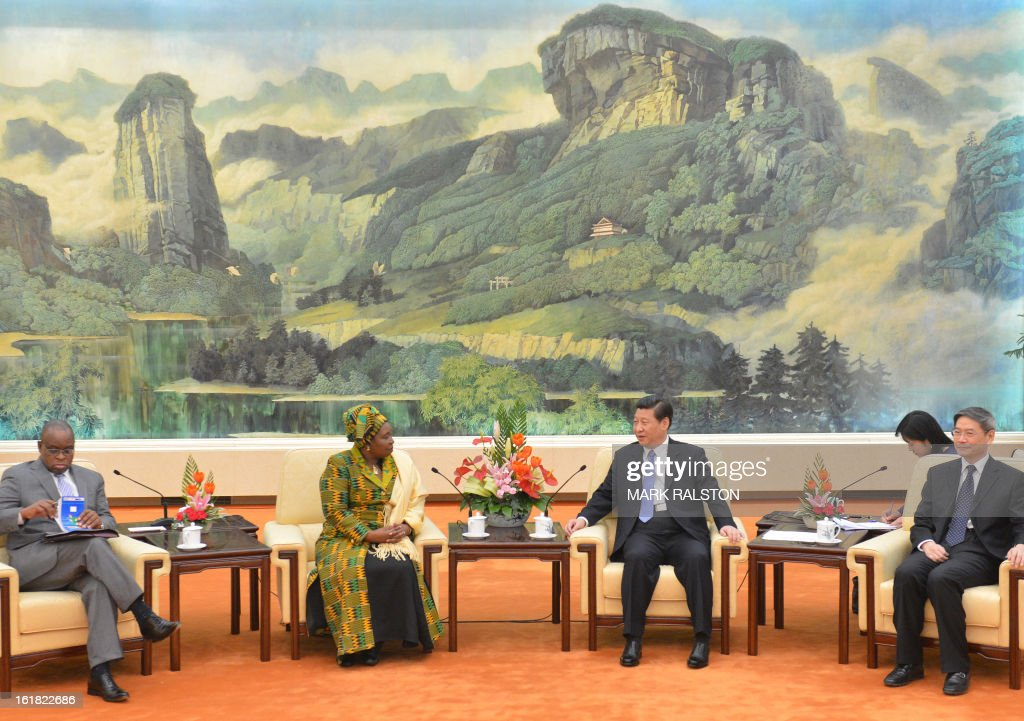 Chairperson of the African Union Commission, Dr Nkosazana Dlamini-Zuma (2nd L) meets with the Chinese Communist Party Secretary General and the countries new leader Xi Jinping (2nd R) at the Great Hall of the People in Beijing on February 17, 2013. The South African recently took over as head of the African Union Commission, becoming the first woman at the helm of the pan-African bloc's executive committee. Dlamini-Zuma, an ex-wife of South African President Jacob Zuma, was previously the South African home affairs minister. AFP PHOTO/Mark RALSTON