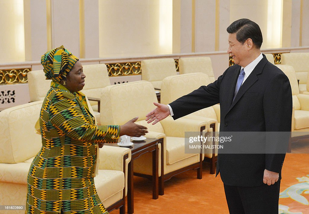 Chairperson of the African Union Commission, Dr Nkosazana Dlamini-Zuma (L) is greeted by the Chinese Communist Party Secretary General and the countries new leader Xi Jinping (R) at the Great Hall of the People in Beijing on February 17, 2013. The South African recently took over as head of the African Union Commission, becoming the first woman at the helm of the pan-African bloc's executive committee. Dlamini-Zuma, an ex-wife of South African President Jacob Zuma, was previously the South African home affairs minister. AFP PHOTO/Mark RALSTON