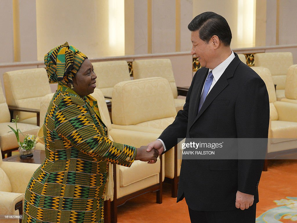 Chairperson of the African Union Commission, Dr Nkosazana Dlamini-Zuma (L) is greeted by the Chinese Communist Party Secretary General and the countries new leader Xi Jinping (R) at the Great Hall ...