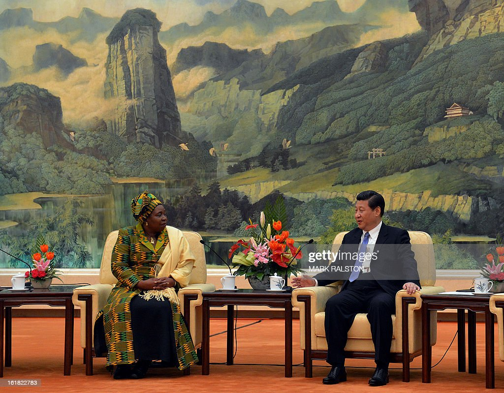 Chairperson of the African Union Commission, Dr Nkosazana Dlamini-Zuma (L) speaks with the Chinese Communist Party Secretary General and the countries new leader Xi Jinping (R) at the Great Hall of the People in Beijing on February 17, 2013. The South African recently took over as head of the African Union Commission, becoming the first woman at the helm of the pan-African bloc's executive committee. Dlamini-Zuma, an ex-wife of South African President Jacob Zuma, was previously the South African home affairs minister. AFP PHOTO/Mark RALSTON