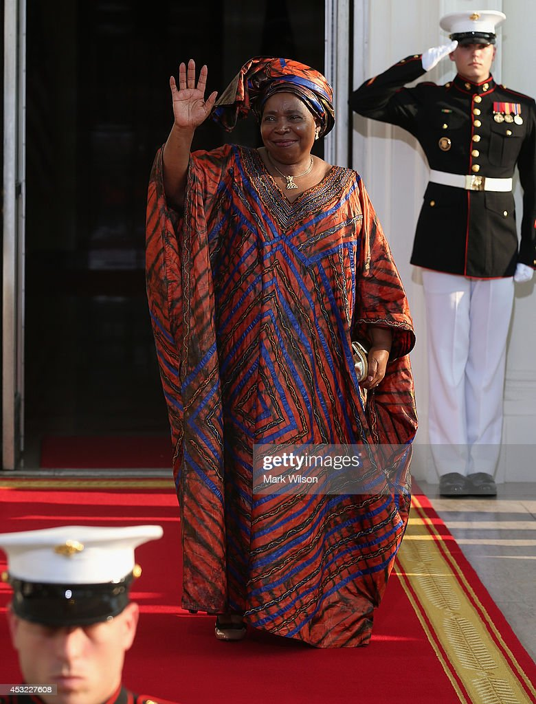 Chairperson of the African Union Commission Nkosazana Dlamini Zuma arrives at the North Portico of the White House for a State Dinner on the occasion of the U.S. Africa Leaders Summit, August 5, 2014 in Washington, DC. African leaders are attending a three-day-long summit in Washington to strengthen ties between the United States and African nations.