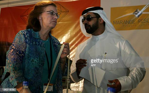 Chairperson of the Kimberely Process Certification Scheme US Ambassador Gillian Milovanovic talks with Ahmed Bin Sulayem executive chairman of the...