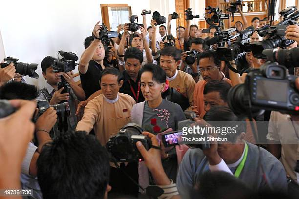 Chairperson of the National League for Democracy Aung San Suu Kyi is seen on arrival at the parliament on November 16 2015 in Nay Pyi Taw Myanmar...