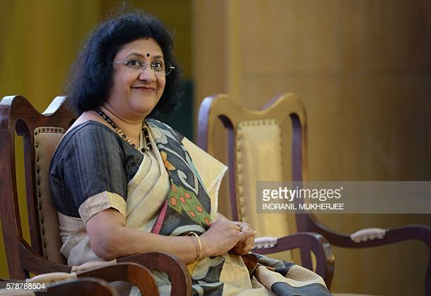 Chairperson of the State Bank of India Arundhati Bhattacharya listens during a press conference to launch the bank's new epayment gateway in Mumbai...