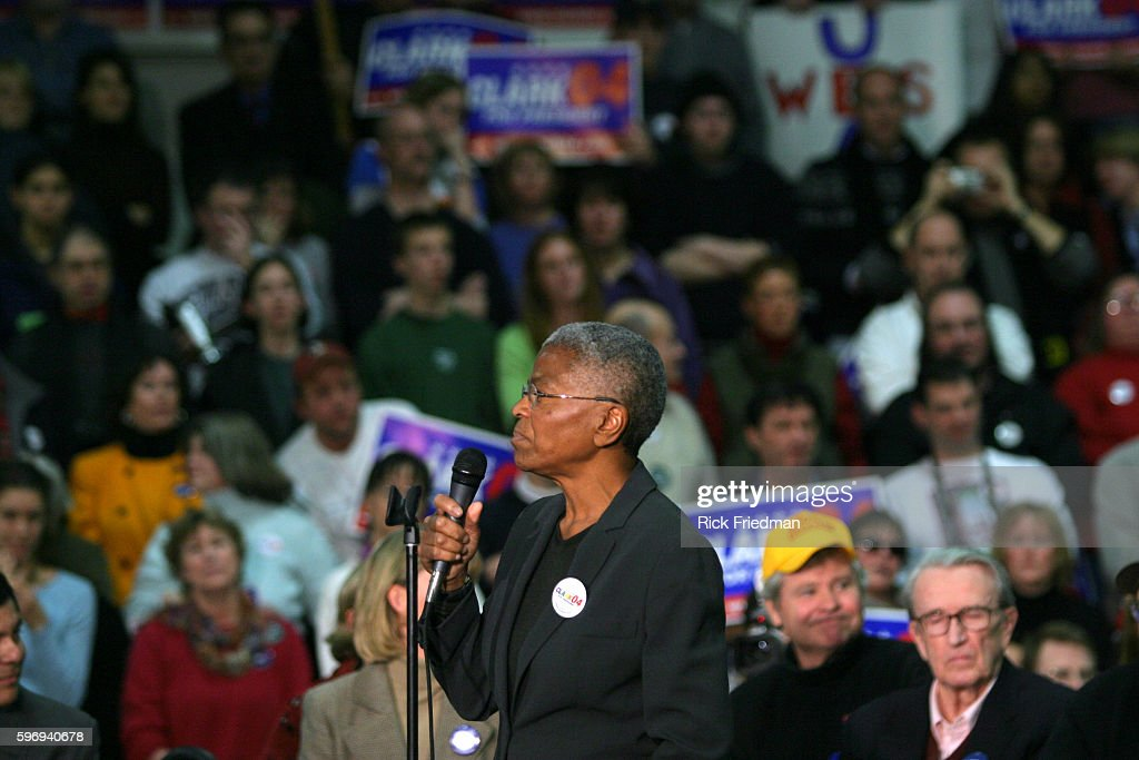 Chairperson of the US Commission on Civil Rights Dr Mary Frances Berry addresses a supporters of Democratic presidential hopeful former General...