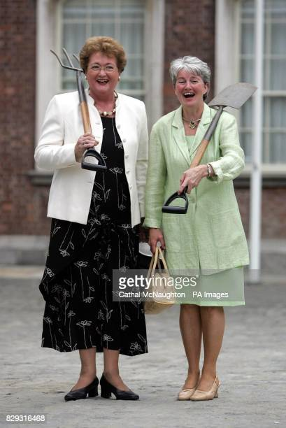 Chairperson Rose O'Dowd and Secretary Mary O'Brien of the Lismore Tidy Town comittee at Dublin Castle during a photocall after the County Waterford...