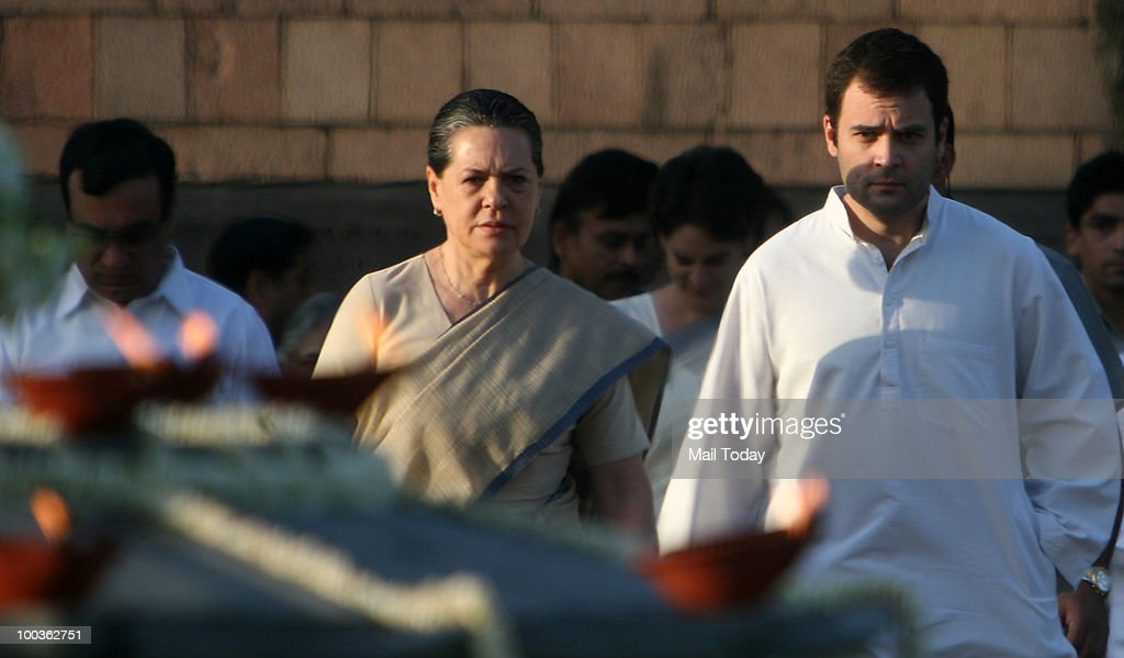 UPA Chairperson Sonia Gandhi and Congress General Secretary Rahul Gandhi at the 19th death anniversary observation of former Prime Minister Rajiv Gandhi in New Delhi on May 19, 2010.