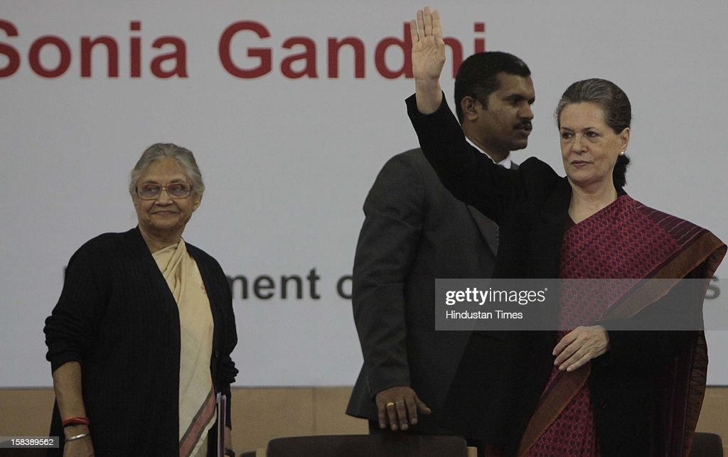 UPA Chairperson Sonia Gandhi and Delhi Chief Minister Shiela Dixit during the launch of the Delhi Annshree Yojana on December 15, 2012 in New Delhi, India. Under the scheme monthly cash subsidy of Rs 600 will be transferred directly into bank account of senior-most female member of two lakh poor families.