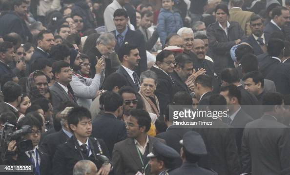 Chairperson Sonia Gandhi and other leaders during the 65th Republic Day parade at Rajpath on January 26 2014 in New Delhi India India adopted its...