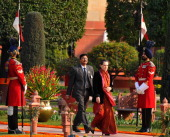 Chairperson Sonia Gandhi arrives at Rashtrapati Bhawan during 'AtHome' function coinciding with the Republic Day celebrations on January 26 2012 in...