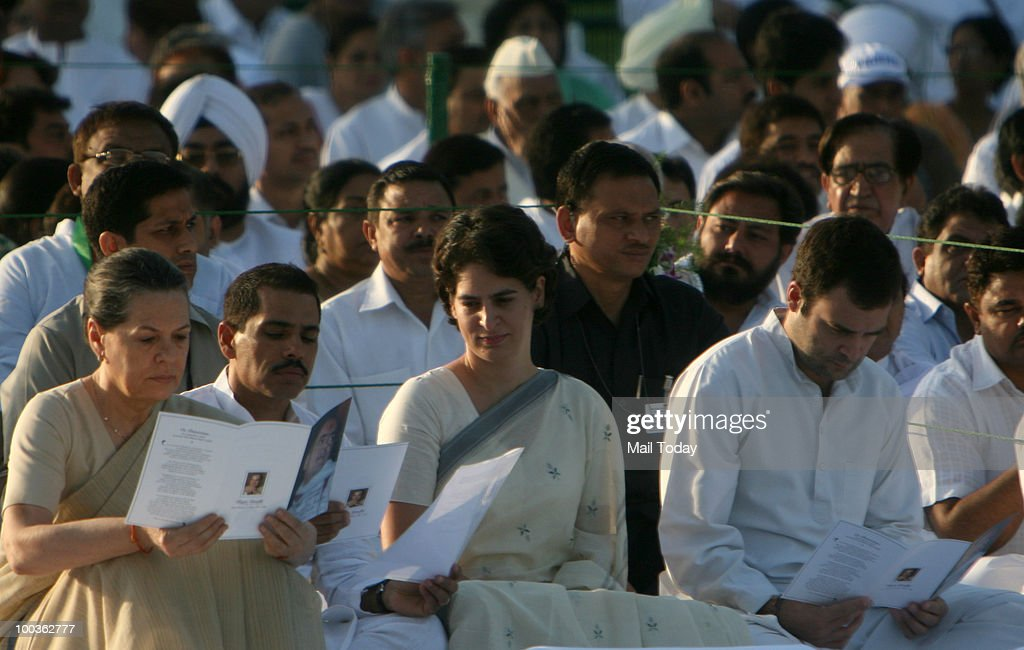 UPA Chairperson Sonia Gandhi, Congress General Secretary Rahul Gandhi and Priyanka Gandhi during the 19th death anniversary of former Prime Minister Rajiv Gandhi at Veer Bhoomi in New Delhi on May 19, 2010.