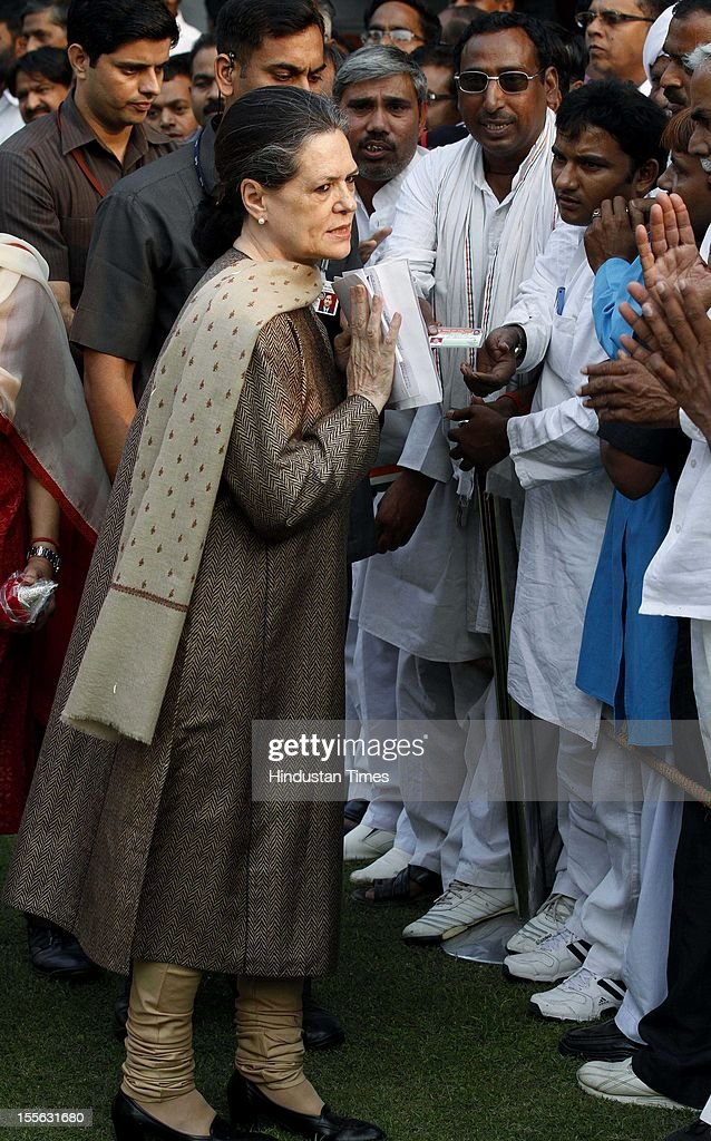 UPA Chairperson <a gi-track='captionPersonalityLinkClicked' href=/galleries/search?phrase=Sonia+Gandhi&family=editorial&specificpeople=2287581 ng-click='$event.stopPropagation()'>Sonia Gandhi</a> during launch of a 'Shobha Yatra' on the occasion of Maharishi Valmiki Jayanti, on October 29, 2012 in New Delhi, India.