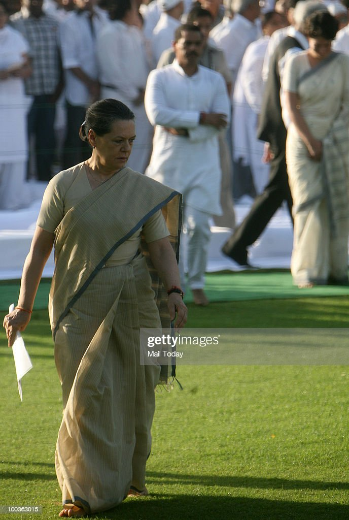 UPA Chairperson Sonia Gandhi during the 19th death anniversary observation of her husband and former Prime Minister Rajiv Gandhi at Veer Bhoomi in New Delhi on May 19, 2010.