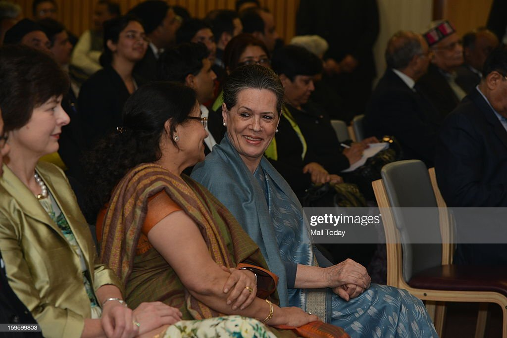 UPA chairperson Sonia Gandhi during the first Milon Kumar Baneraji Memorial lecture at international society in Delhi on Wednesday.