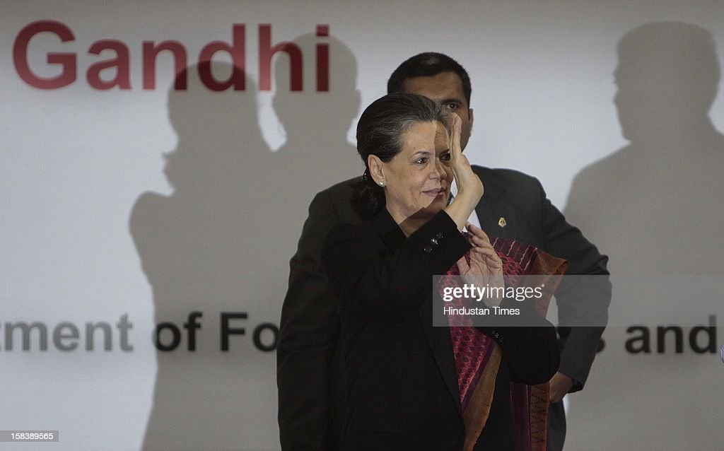 UPA Chairperson Sonia Gandhi during the launch of the Delhi Annshree Yojana on December 15, 2012 in New Delhi, India. Under the scheme monthly cash subsidy of Rs 600 will be transferred directly into bank account of senior-most female member of two lakh poor families.