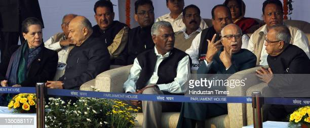 UPA Chairperson Sonia Gandhi Minister of Power Sushilkumar Shinde CPI Leader D Raja BJP Leader Lal Krishna Advani and Finance Minister Pranab...