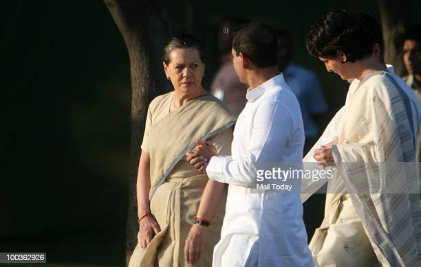 Chairperson Sonia Gandhi Priyanka Gandhi and Robert Vadra at the 19th death anniversary observation of former Prime Minister Rajiv Gandhi in New...