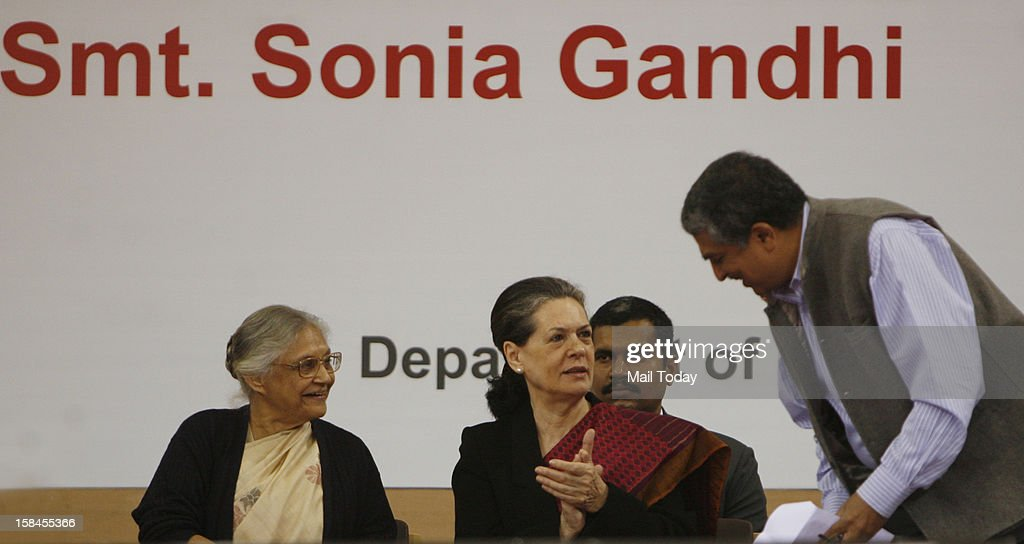 UPA Chairperson Sonia Gandhi with Delhi Chief Minister Sheila Dikshit and UID Chairman Nadan Nilekani during the launch of Dilli Annashree Yojana in New Delhi on Saturday.