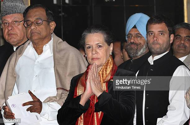 Chairperson Sonia Gandhi with Union Home Minister P Chidambaram Rahul Gandhi and Farooq Abdullah during swearingin ceremony of new Union Cabinet...
