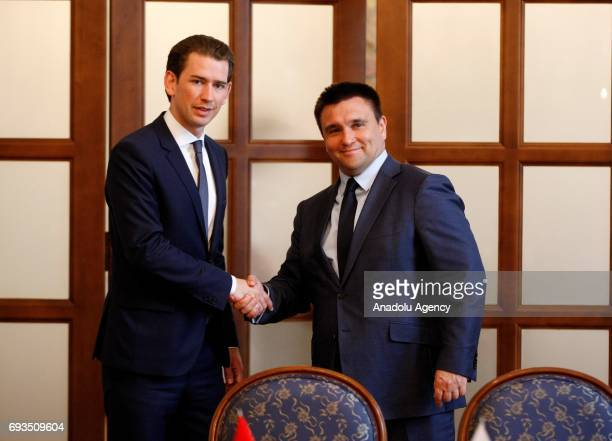 ChairpersoninOffice of the OSCE Austrian Foreign Minister Sebastian Kurz shakes hand with Ukrainian Foreign Minister Pavlo Klimkin during their a...
