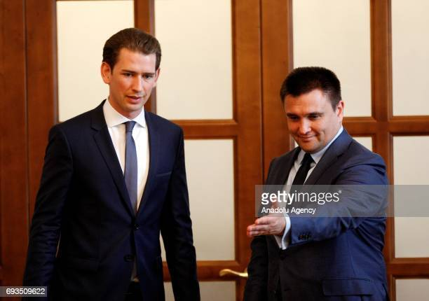 ChairpersoninOffice of the OSCE Austrian Foreign Minister Sebastian Kurz meets with Ukrainian Foreign Minister Pavlo Klimkin in Kiev Ukraine on June...