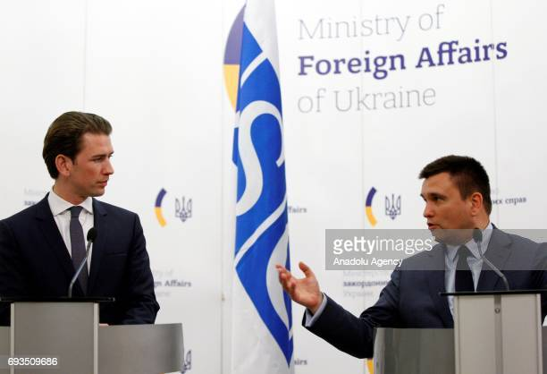 ChairpersoninOffice of the OSCE Austrian Foreign Minister Sebastian Kurz and Ukrainian Foreign Minister Pavlo Klimkin hold a joint press conference...