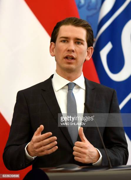 ChairpersoninOffice of the OSCE Federal Minister for Europe Integration and Foreign Affairs of Austria Sebastian Kurz speaks during a joint press...