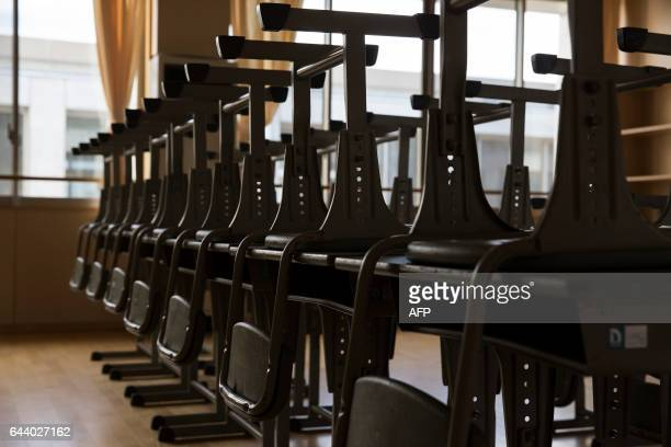Chairs and desks are prepared in a classroom at Narahamachi elementary school in Naraha Fukushima Japan on February 23 2017 The school is scheduled...