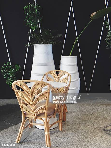 Chairs And Table Against Potted Plants