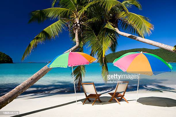 chairs and umbrellas under palm trees in the Virgin Islands