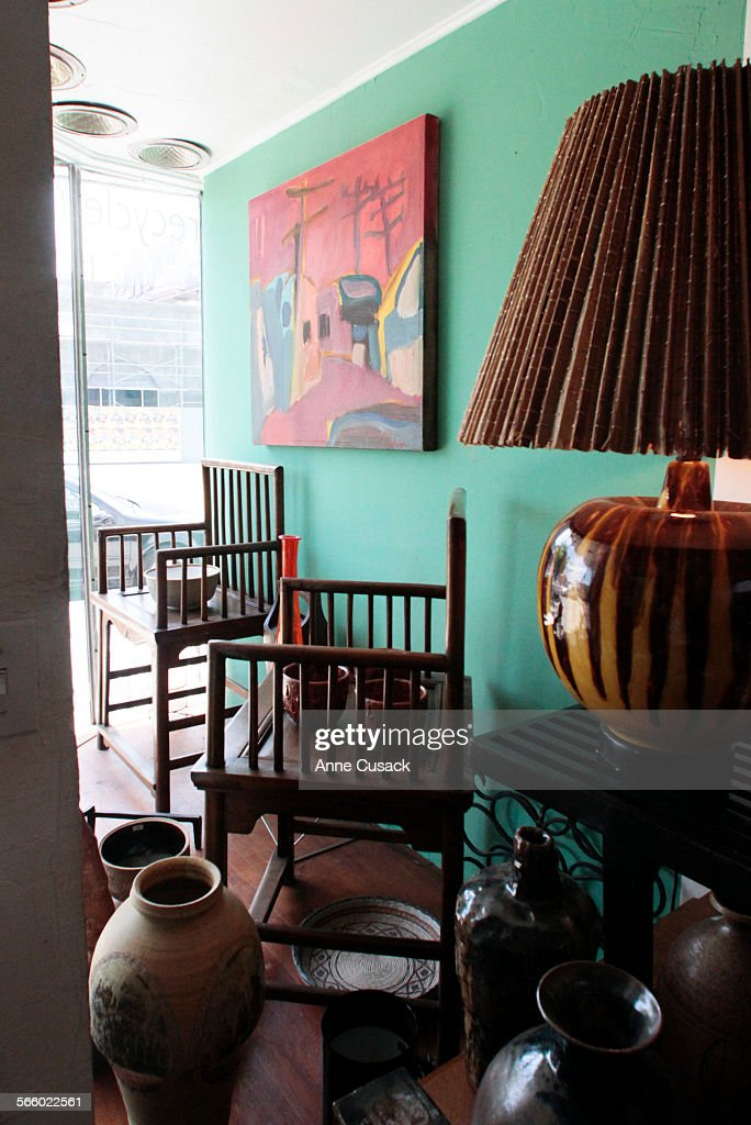 Chairs And Various Items In The Window Display At Pico Modern Furnishings  Owned By Don (does Not Wa Pictures | Getty Images