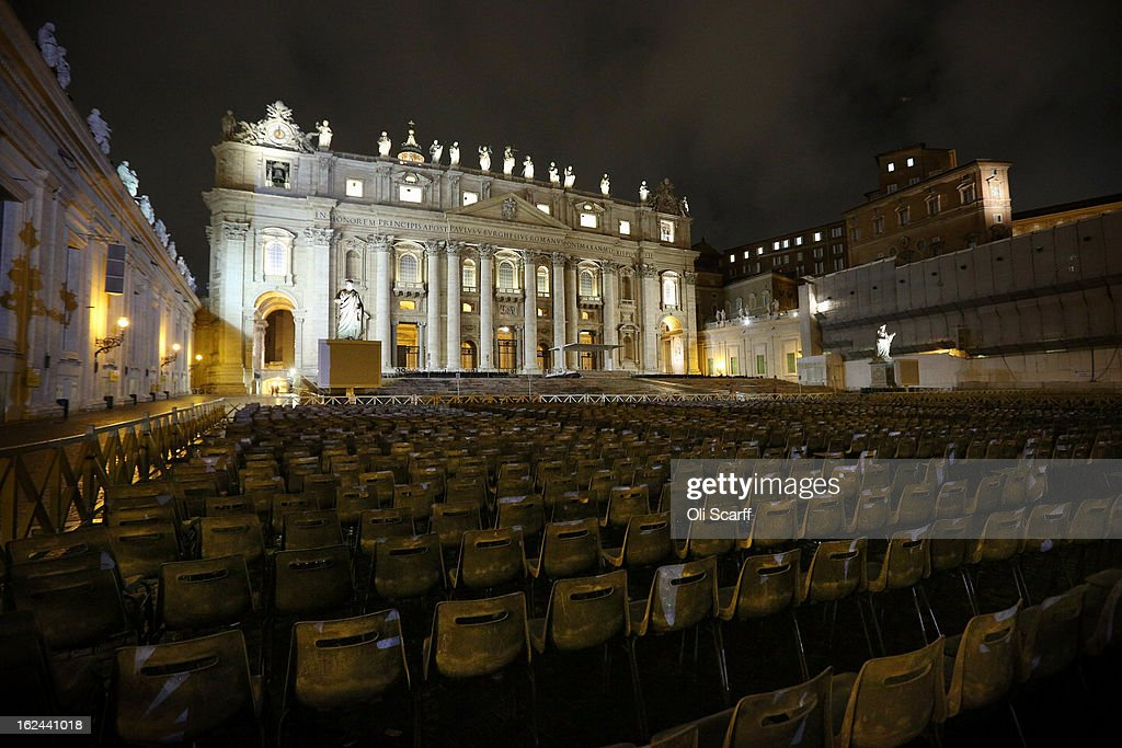 Chairs are laid out in front of the illuminated Basilica in Saint Peter's Square on February 23, 2013 in Vatican City, Vatican. Pope Benedict XVI is due to hold his last weekly public audience tomorrow before he retires on Thursday. Pope Benedict XVI has been the leader of the Catholic Church for eight years and is the first Pope to retire since 1415. He cites his retirement due to ailing health and is to spend the rest of his life in solitude away from any public engagements.