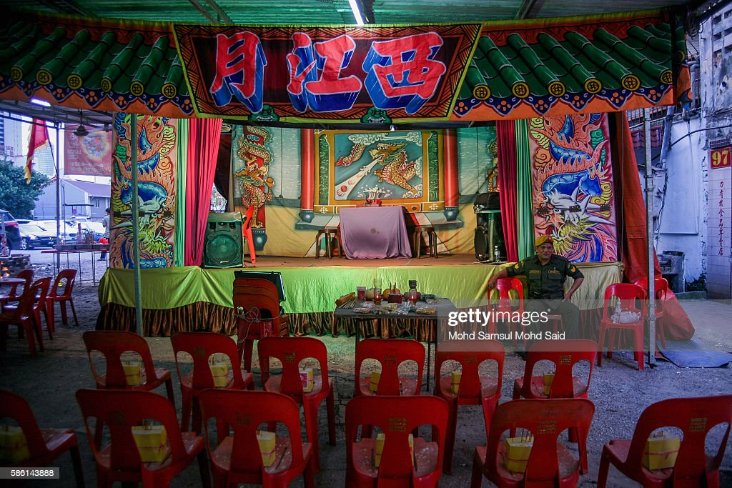 Chairs are left empty for 'ghosts', during the Hungry Ghost Festival on August 5, 2016 in Kuala Lumpur, Malaysia. The Hungry Ghost Festival falls on the 15th day of the seventh lunar month. According to traditional Chinese belief, the seventh month in the lunar calendar is when restless spirits roam the earth. Many Chinese people make efforts to appease these transient ghosts, while feeding their own ancestors particularly on the 15th day, which is the Yu Lan or Hungry Ghost Festival.
