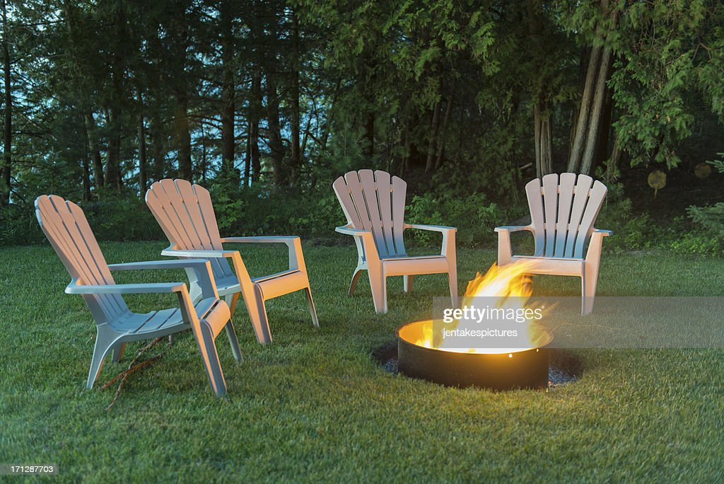 Chairs Around A Camp Fire : Stock Photo