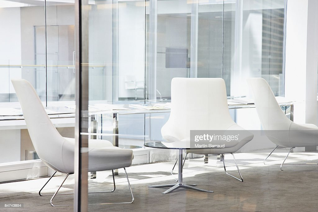 Chairs in modern office lobby : Stock Photo