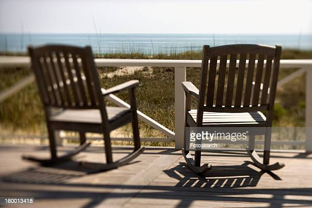 Chairs on Porch Facing Beach