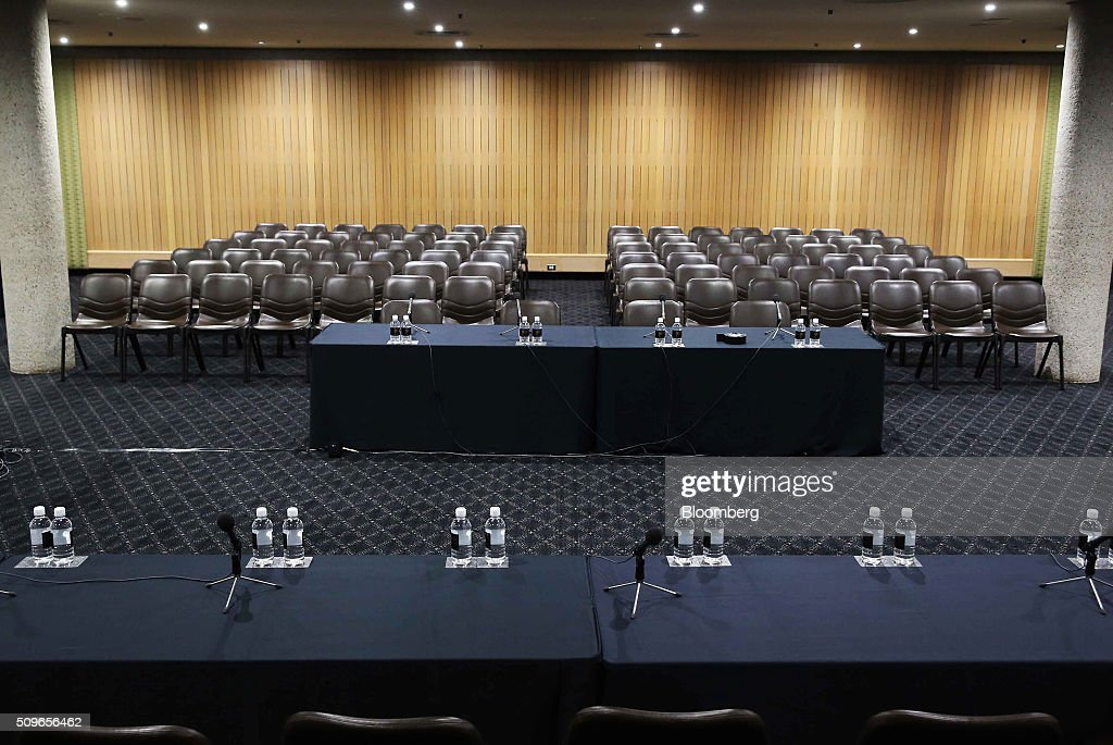 Chairs sit empty ahead of a hearing before the House of Representatives economics committee in Sydney, Australia, on Friday, Feb. 12, 2016. Australia has the flexibility to ease monetary policy further if that will aid the economy, central bank Governor Glenn Stevens said Friday as he gauges the sustainability of recent jobs strength against the potential impact of global market upheaval on demand. Photographer: Brendon Thorne/Bloomberg via Getty Images