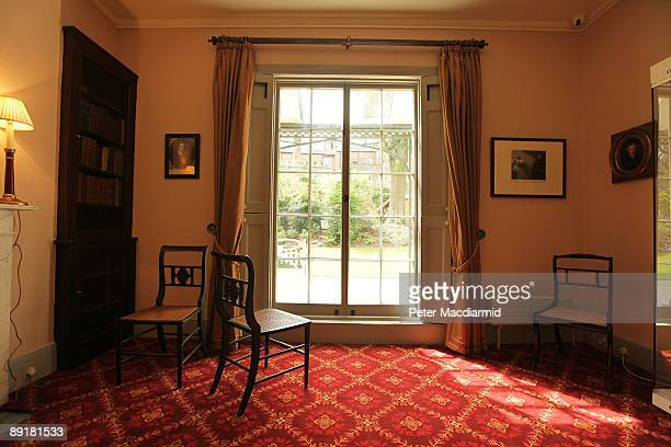 Chairs sit next to a window of the rear parlour at Keats' House on July 22 2009 in London England Keats' House the former home of renowned English...