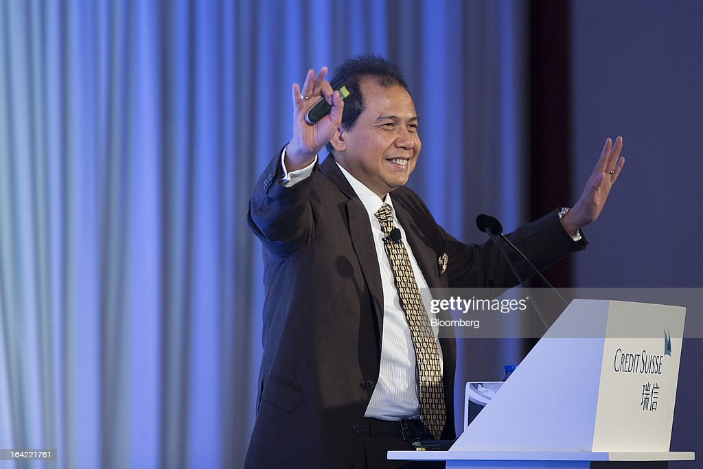 Chairul Tanjung, chairman of Indonesia's National Economic Committee and chairman of CT Corp., gestures during a keynote address at the Credit Suisse Asian Investment Conference in Hong Kong, China, on Thursday, March 21, 2013. The conference runs from March 18-22. Photographer: Jerome Favre/Bloomberg via Getty Images