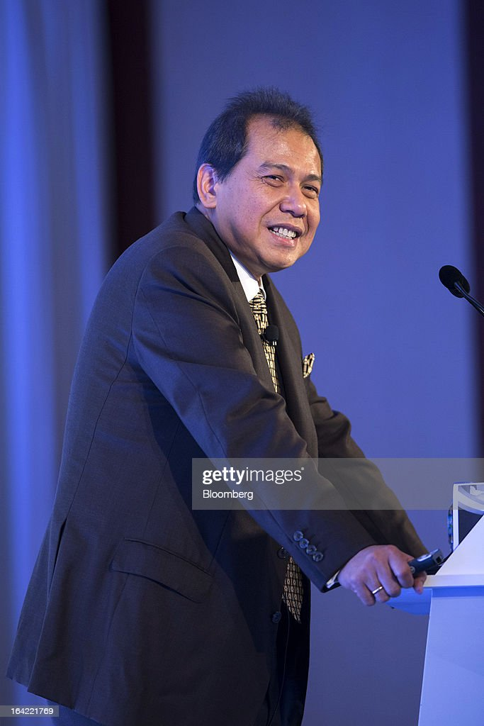 Chairul Tanjung, chairman of Indonesia's National Economic Committee and chairman of CT Corp., reacts during a keynote address at the Credit Suisse Asian Investment Conference in Hong Kong, China, on Thursday, March 21, 2013. The conference runs from March 18-22. Photographer: Jerome Favre/Bloomberg via Getty Images