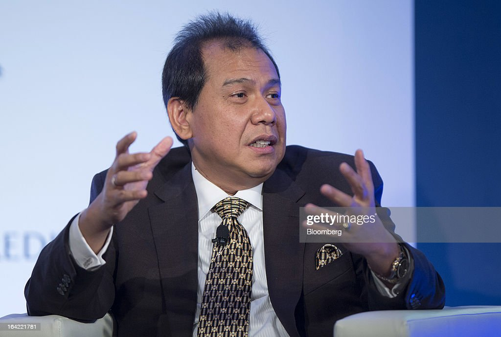 Chairul Tanjung, chairman of Indonesia's National Economic Committee and chairman of CT Corp., gestures as he speaks during the Credit Suisse Asian Investment Conference in Hong Kong, China, on Thursday, March 21, 2013. The conference runs from March 18-22. Photographer: Jerome Favre/Bloomberg via Getty Images