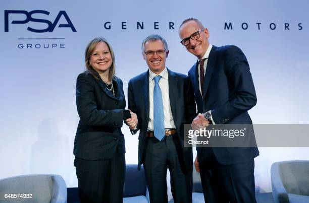Chairwoman and CEO of General Motors Mary Barra Chairman of the Managing Board of French carmaker PSA Group Carlos Tavares and Opel CEO KarlThomas...