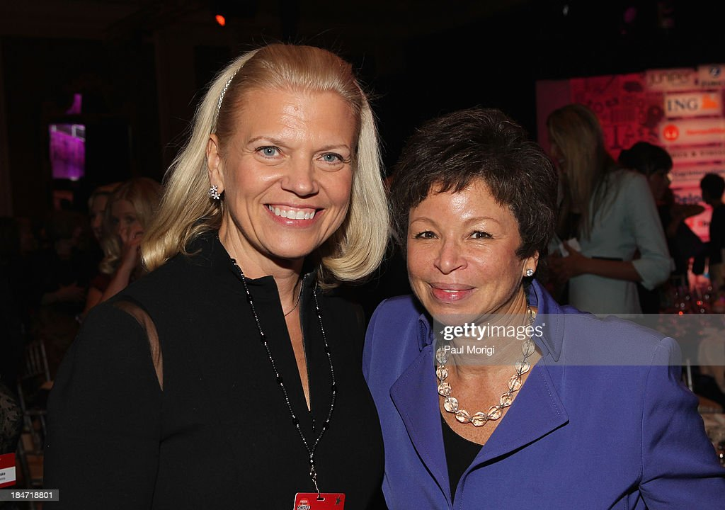 Chairwoman and CEO of IBM Ginni Rometty and Valerie Jarrett attend the opening reception during FORTUNE Most Powerful Women Summit on October 15, 2013 in Washington, DC.