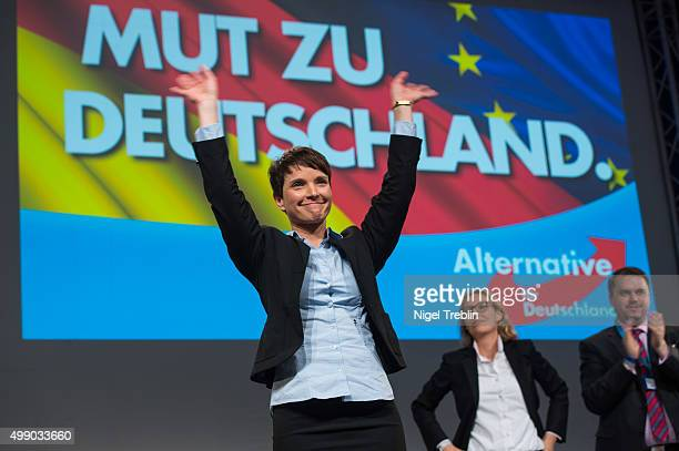 Chairwoman Frauke Petry reacts after her speech during the AfD federal party congress on November 28 2015 in Hanover Germany The AFD aims to enter...